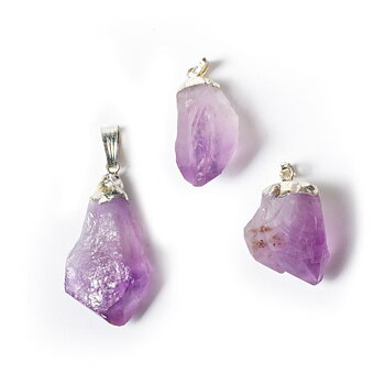 Amethyst point gemstone pendant -- ±3cm