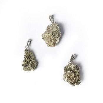 Pyrite rough gemstone pendant -- ±2.5cm