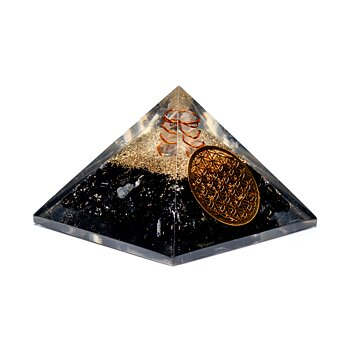 Black tourmaline crystal point pyramid with flower of life