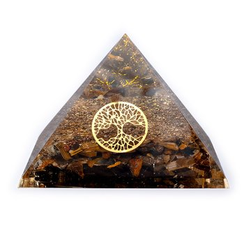 Tiger eye pyramid with tree of life