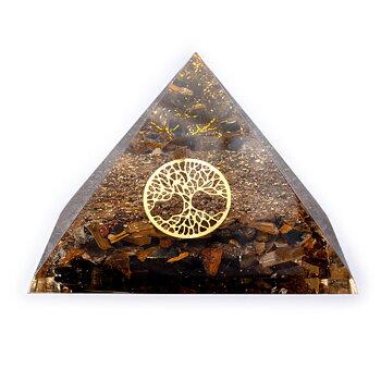 Tiger eye pyramid with tree of life