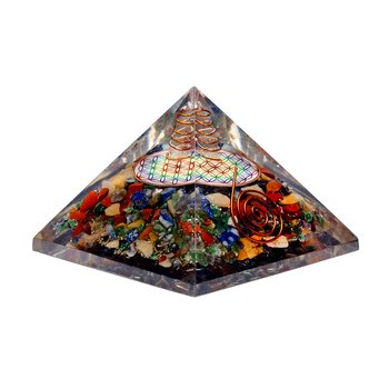 Flower of life chakra pyramid with crystal point