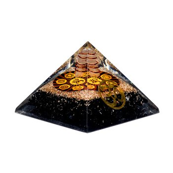 Orgonite chakra pyramid black tourmaline with ohm