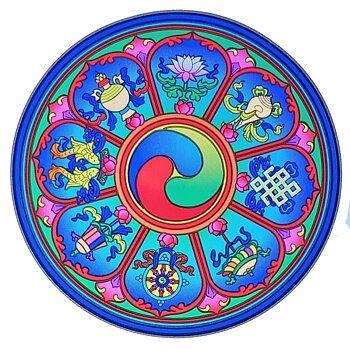 Sunseal decal Tibetan Auspicious Symbols