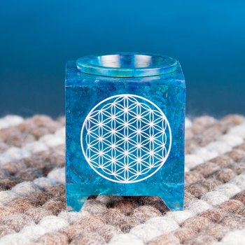 Aroma lamp - flower of lifesoap stone, blue