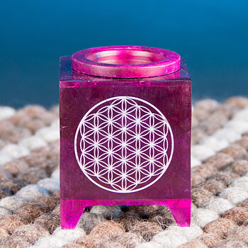 Aroma lamp - flower of lifesoap stone, violett