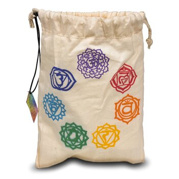 Set of 7 chakra stones in cotton bag