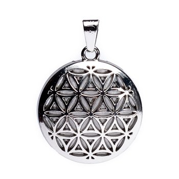 Flower of life pendant with rock crystal