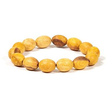 Palo Santo bracelet oval beads elastic -- 1 cm