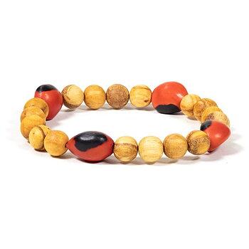 Palo Santo bracelet with 4 Huayruro beads -- 0.8 cm