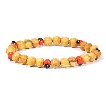 Palo Santo bracelet with Huayruro beads -- 0.6 cm