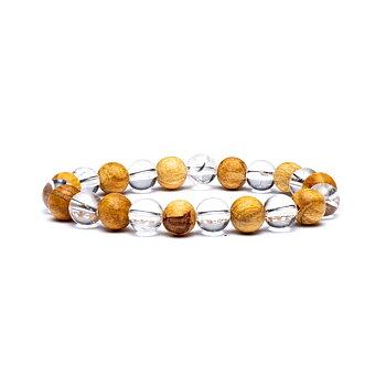 Bracelet rock crystal/ palo santo elastic