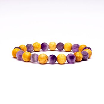 Bracelet amethyst/ palo santo elastic