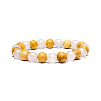 Bracelet rose quartz/ palo santo elastic
