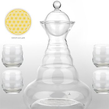 Vital water Carafe Alladin & 4 Mythos Gold Cups -- 1300 ml