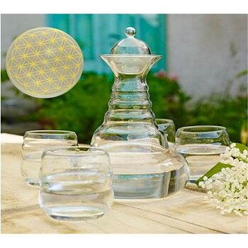 Vital water Carafe Alladin & 4 Mythos Gold Cups -- 1300 ml