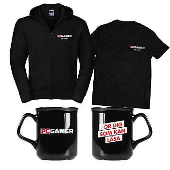 Svenska PC Gamer + mugg + svart t-shirt + svart hoodie