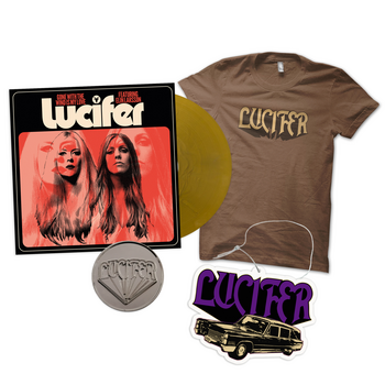 """LUCIFER - GONE WITH THE WIND IS MY LOVE, 7"""" VINYL (GOLD) - T-SHIRT BUNDLE"""