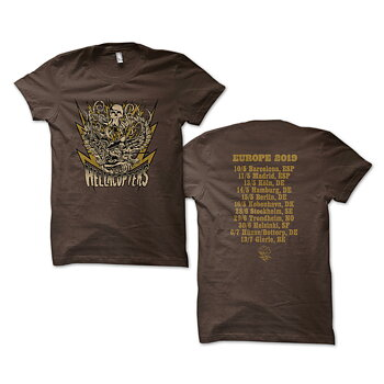 HELLACOPTERS - T-SHIRT, EUROPE TOUR 2019 (BROWN)