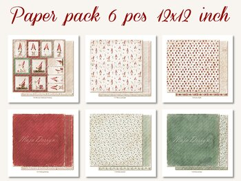 "MAJA DESIGN Traditional Christmas Paperpack  6 pcs 12""x12"""