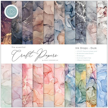 Craft Consortium Essential Craft Papers 12x12 Inch Paper Pad Ink Drops Dusk