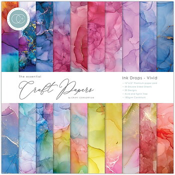 Craft Consortium Essential Craft Papers 12x12 Inch Paper Pad Ink Drops Vivid