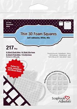 Scrapbook Adhesives-Thin 3D Foam Squares White Mix