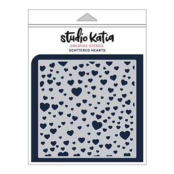 STUDIO KATIA-SCATTERED HEARTS STENCIL
