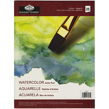 "ROYAL LANGNICKEL-essentials™ Watercolor Artist Paper Pad 9""X12"" 25PCS"