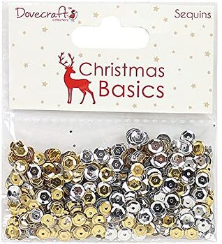Dovecraft Christmas Basics Sequins Gold and Silver