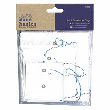 Papermania Bare Basics Kraft Envelope Bags Square White