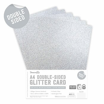 Dovecraft Double Sided Glitter Pack A4 Silver