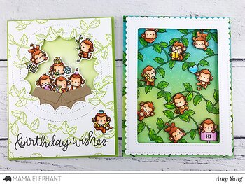 MAMA ELEPHANT -LITTLE MONKEY AGENDA - CLEARSTAMPS