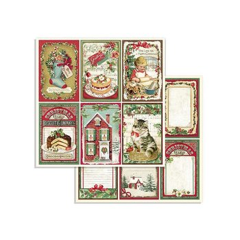 "STAMPERIA Block 10 Sheets 20.3X20.3 (8""X8"") Double Face Classic Christmas"