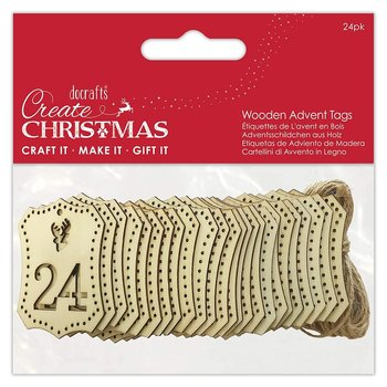 DOCRAFT Papermania Wooden Advent Tags 1-24