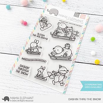 MAMA ELEPHANT-DASHIN THRU THE SNOW  STAMP & DIE SET