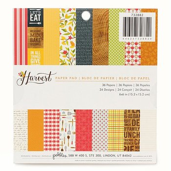 AMERICAN CRAFTS  -Pebbles - Harvest Collection - 6 x 6 Paper Pad