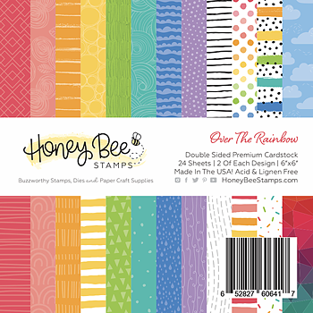 HONEY BEE -6x6 Paper Pad  24 Double Sided Sheets-Over The Rainbow