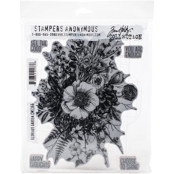 "Tim Holtz Cling Stamps 7""X8.5"" Glorious Garden"