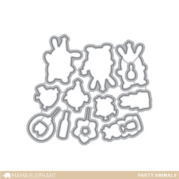 MAMA ELEPHANT -PARTY ANIMALS STAMP & DIE SET