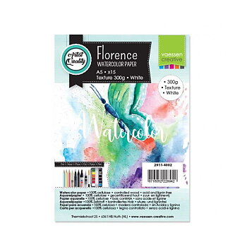 Florence • Watercolor paper texture White 300g A5 15pcs