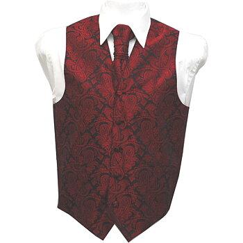 Väst+kravatt Paisley Röd