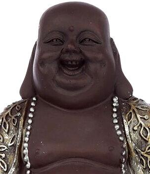 Brown Silvery n' Golden Happy Buddha - Wealth, 17cm