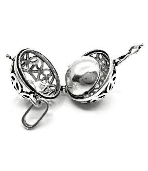 Vintage Locket Pendant - AUM / OM Peace Bola, Silvery