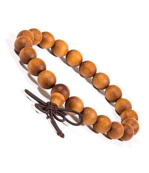 Buddhist Stretchy Mala BRACELET - Sandalwood with Butterfly Knot