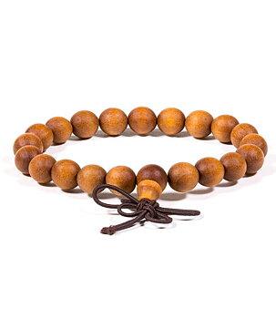 Buddhist Stretchy Mala BRACELET - Sandalwood with Butterfly Knot