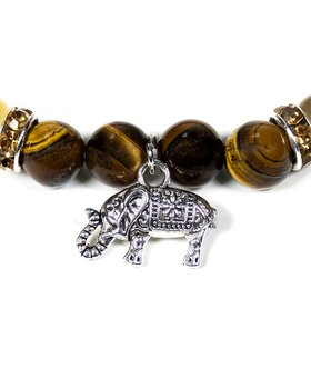 Gemstone Power Bracelet - Tiger Eye, Rutilated Quartz n' Elephant