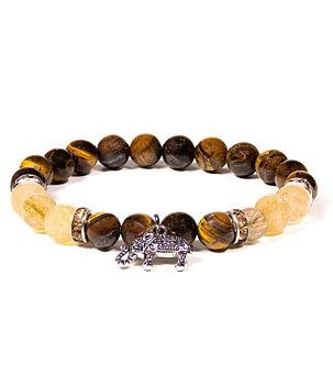 Gemstone Power Bracelet - Tiger Eye, Rutilated Quartz n' Elephant