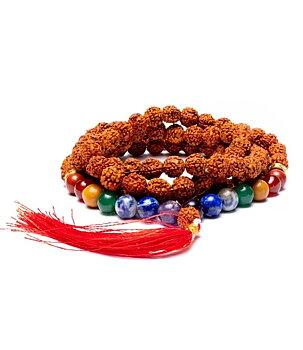 Buddhist Mala Prayer Beads NECKLACE - Rudraksha & Chakra Beads 8mm