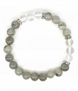 Gemstone Power Bracelet - Labradorite n' Clear Quartz